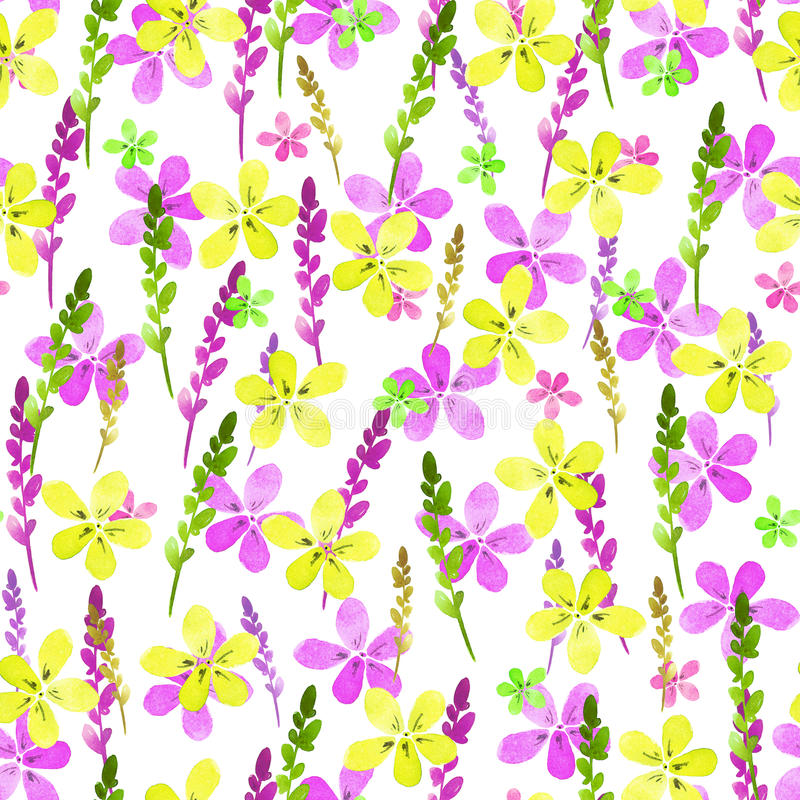 Seamless floral pattern with watercolor yellow pink flowers and leaves in vintage style on white background. . Hand made royalty free illustration