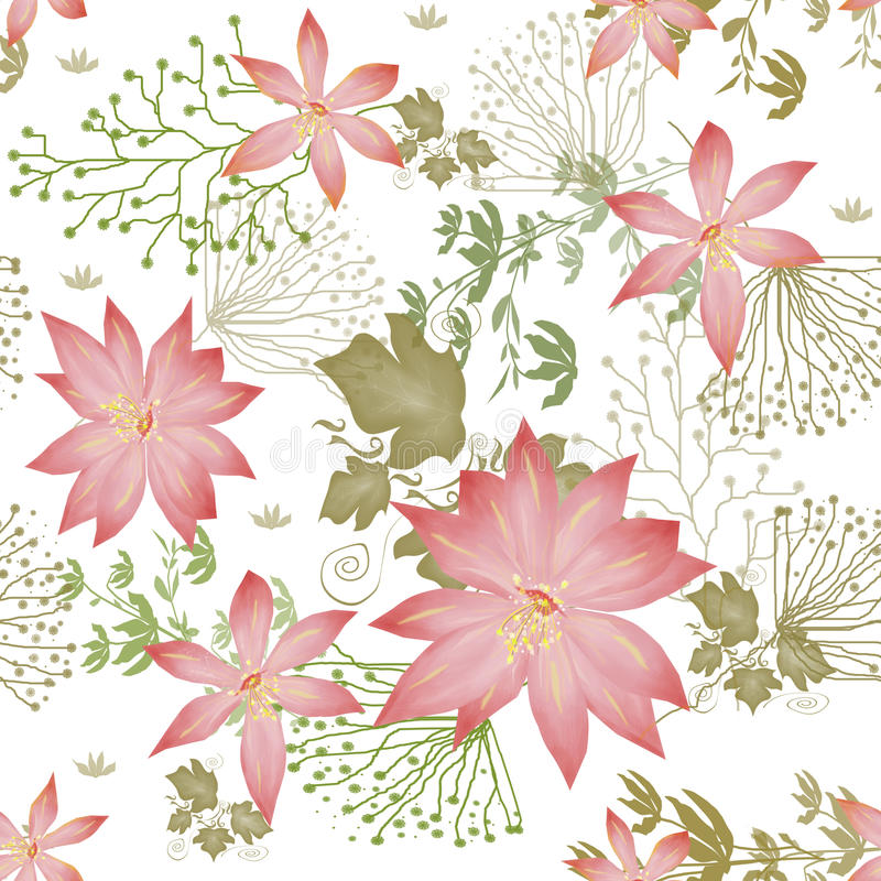 Seamless floral pattern. On white background vector illustration