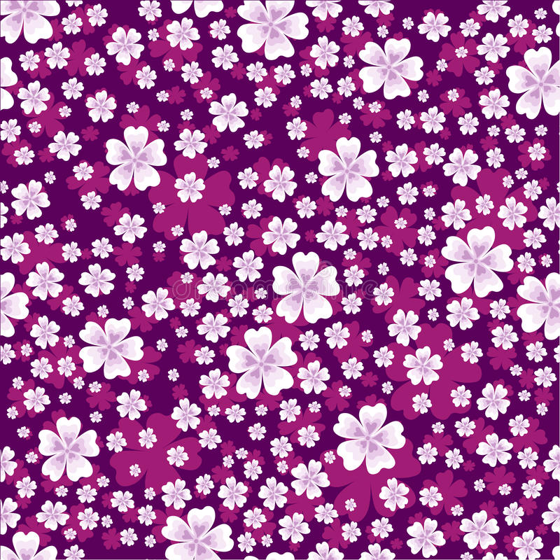 Seamless floral pattern with white colored flowers on bright violet background vector illustration