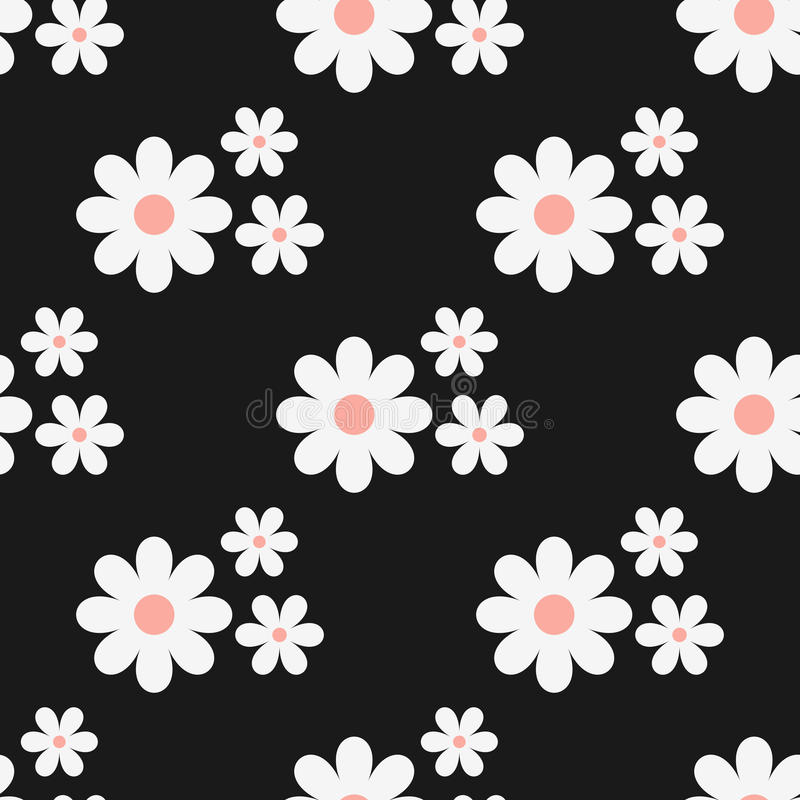 Seamless floral pattern. White flowers on a black background. royalty free illustration