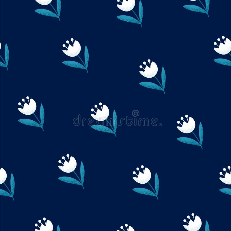 Seamless floral pattern with white flowers on blue background. Ornament for textile and wrapping. Vector vector illustration