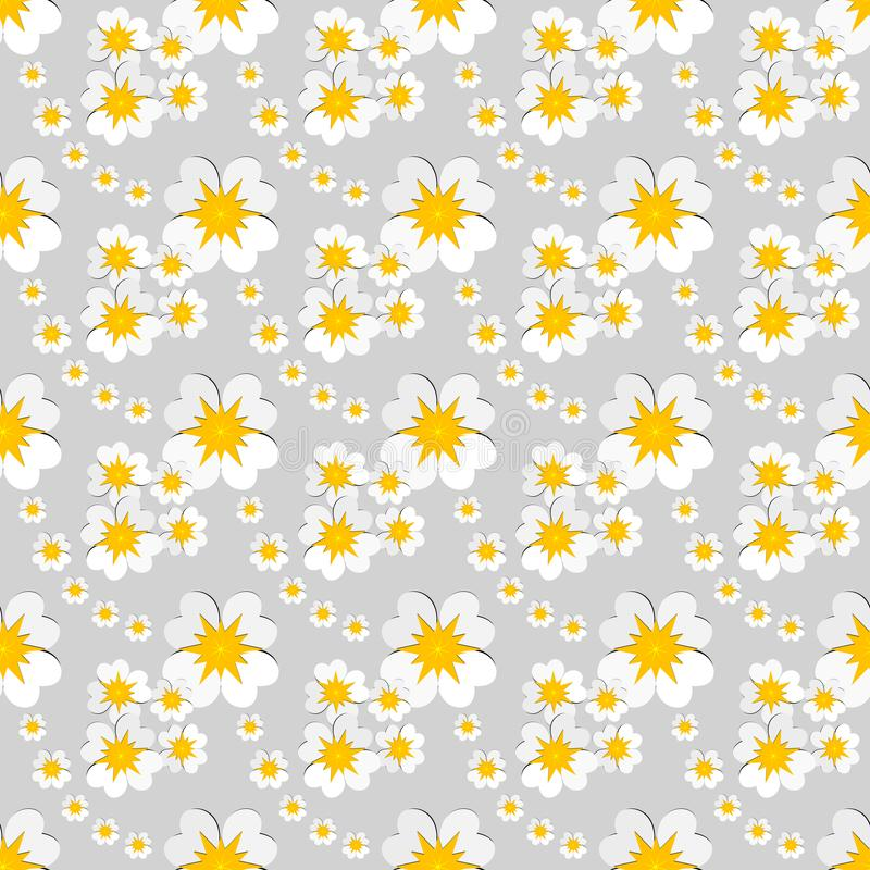 Seamless floral pattern of white flowers with yellow pollen on gray background. Flat design vector. Vector illustration, EPS10. The image can be used as stock illustration