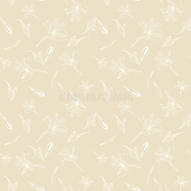 Seamless floral pattern. Pattern with white graphics flowers on beige background. Alstroemeria. Seamless pattern with vector illustration