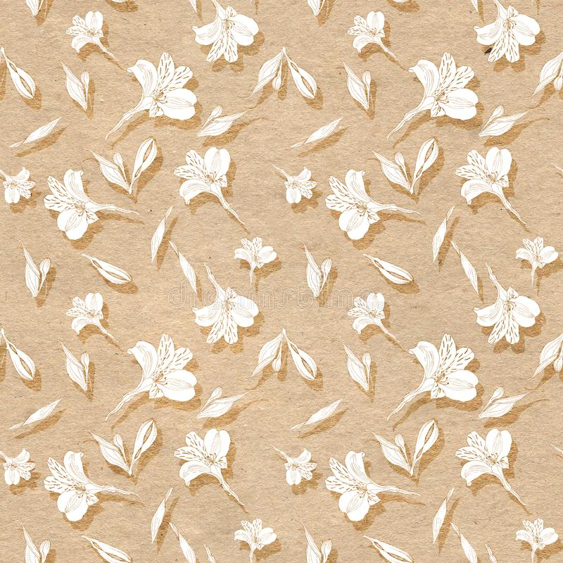 Seamless floral pattern. Pattern with white graphics flowers on craft paper textured background with shades. Alstroemeria. Seamless pattern with hand drawn stock illustration