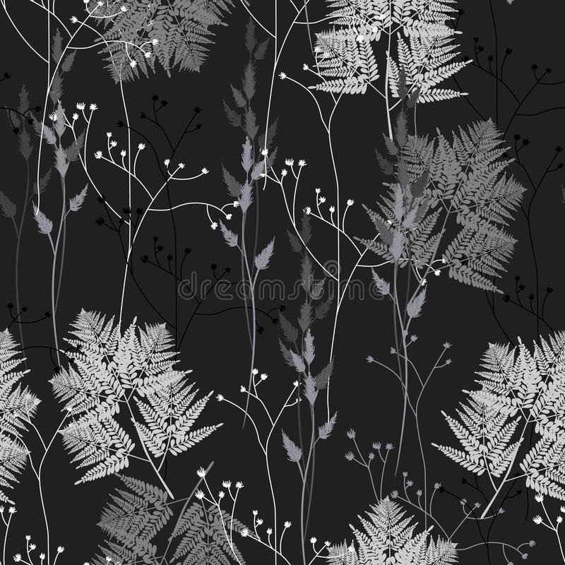 Seamless floral pattern with wild herbs and ferns. Vintage floral background royalty free illustration