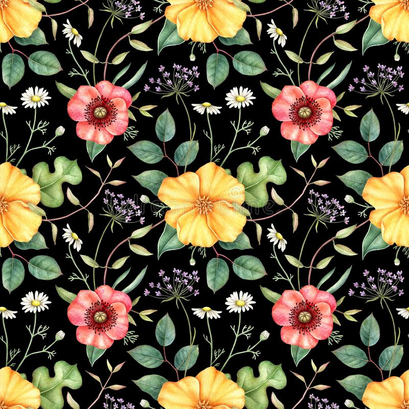 Seamless floral pattern with wildflowers on black background. Hand drawn watercolor illustration. stock illustration