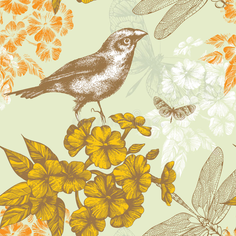 Free Seamless Floral Pattern With A Bird Flying Butterf Royalty Free Stock Photography - 23621347