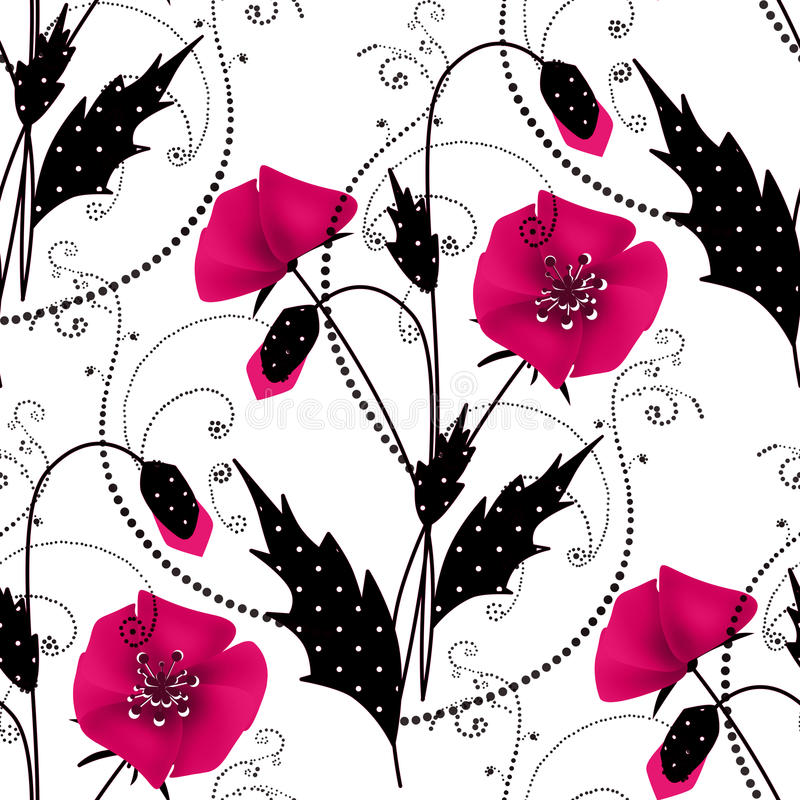 Free Seamless Floral Pattern With Pink Poppies Background Royalty Free Stock Photos - 48497338