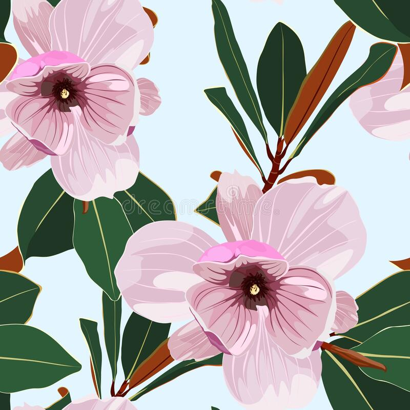 Free Seamless Floral Pattern With Pink Tropical Magnolia Flowers With Leaves On Blue Background. Royalty Free Stock Images - 219560699