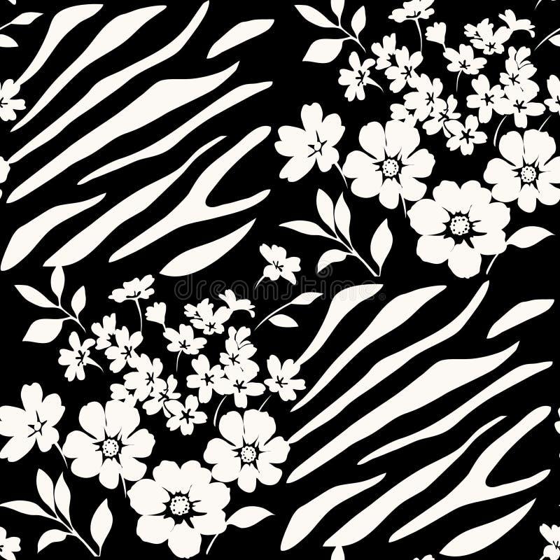 Free Seamless Floral Pattern With Zebra Stripes Stock Photo - 54813820