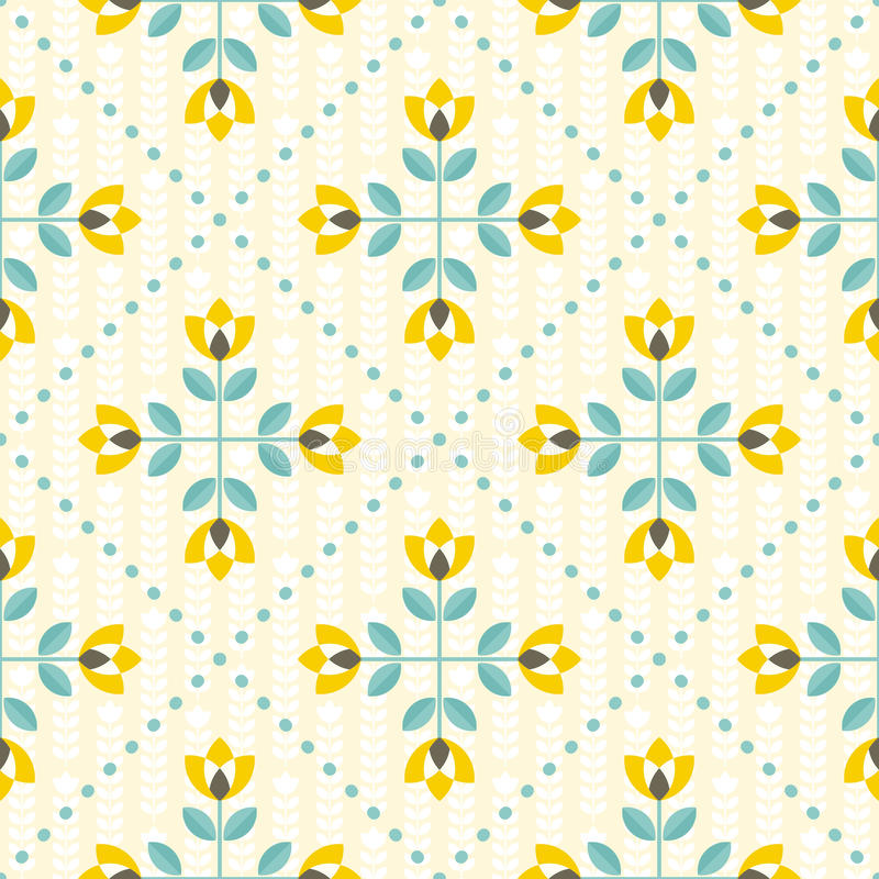Free Seamless Floral Pattern, Yellow And Teal Royalty Free Stock Photography - 63436347