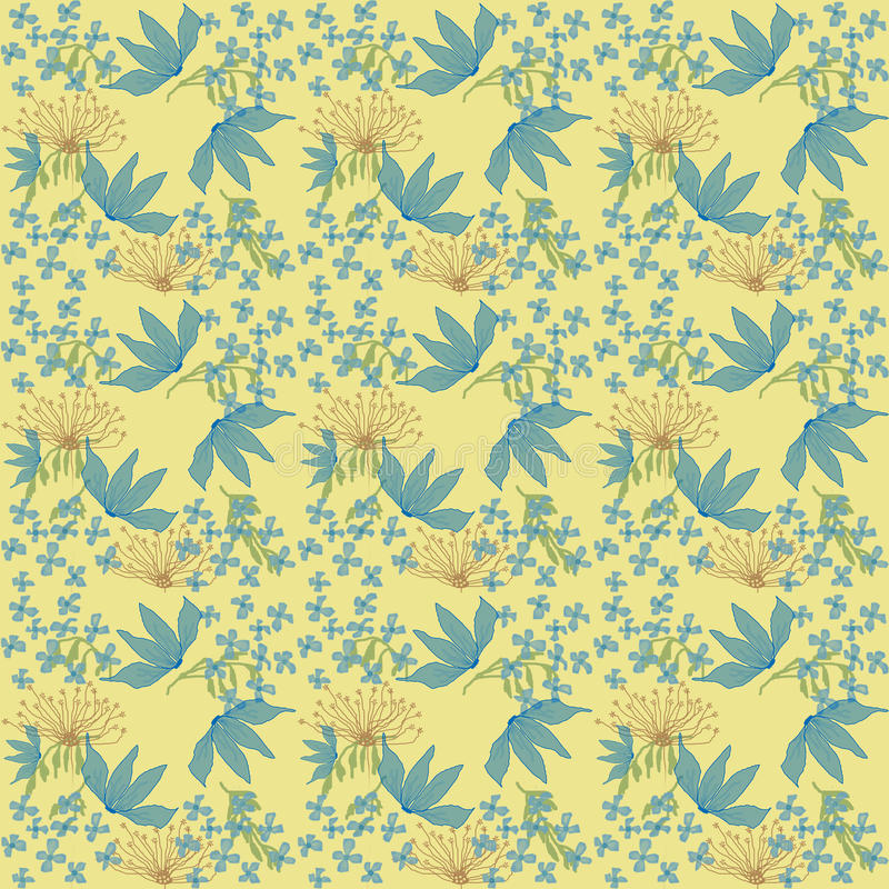 Seamless floral pattern. On yellow background stock illustration