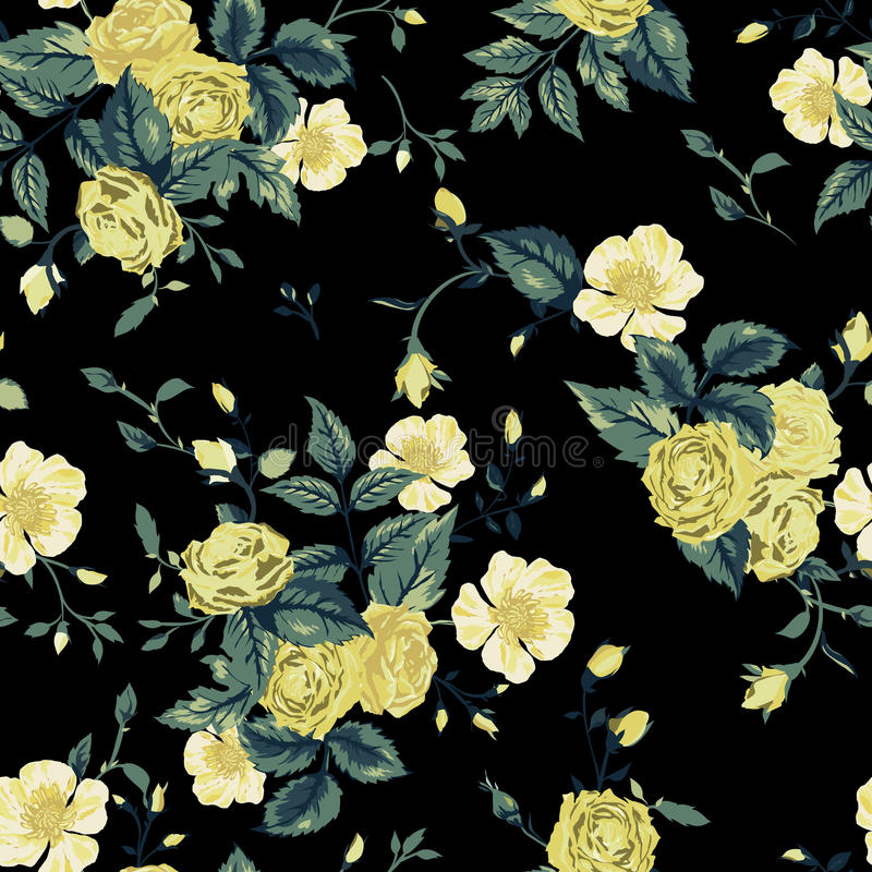 Seamless floral pattern with yellow and white roses on black background vector illustration