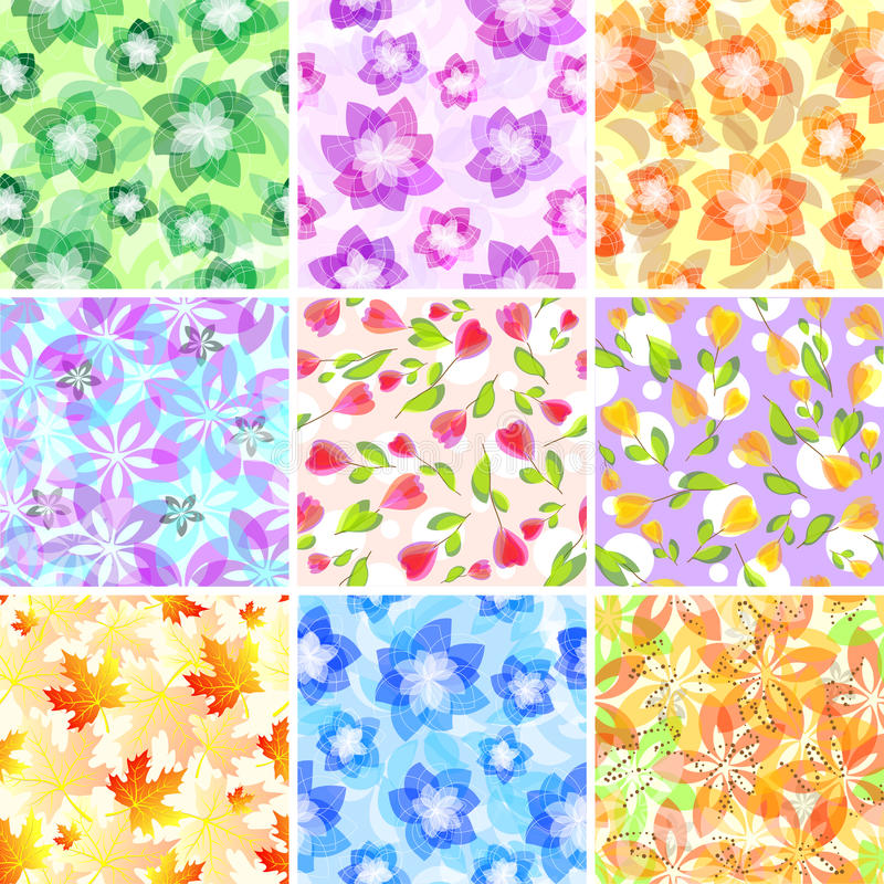 Seamless floral patterns royalty free illustration