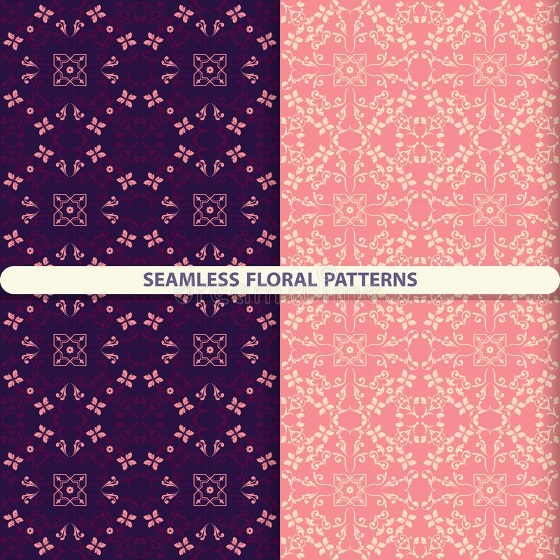 Seamless floral patterns with floral and botanical elements. Flower texture. Kitchen textiles, print for textiles, wallpaper desig. N, turn paper, packaging stock illustration