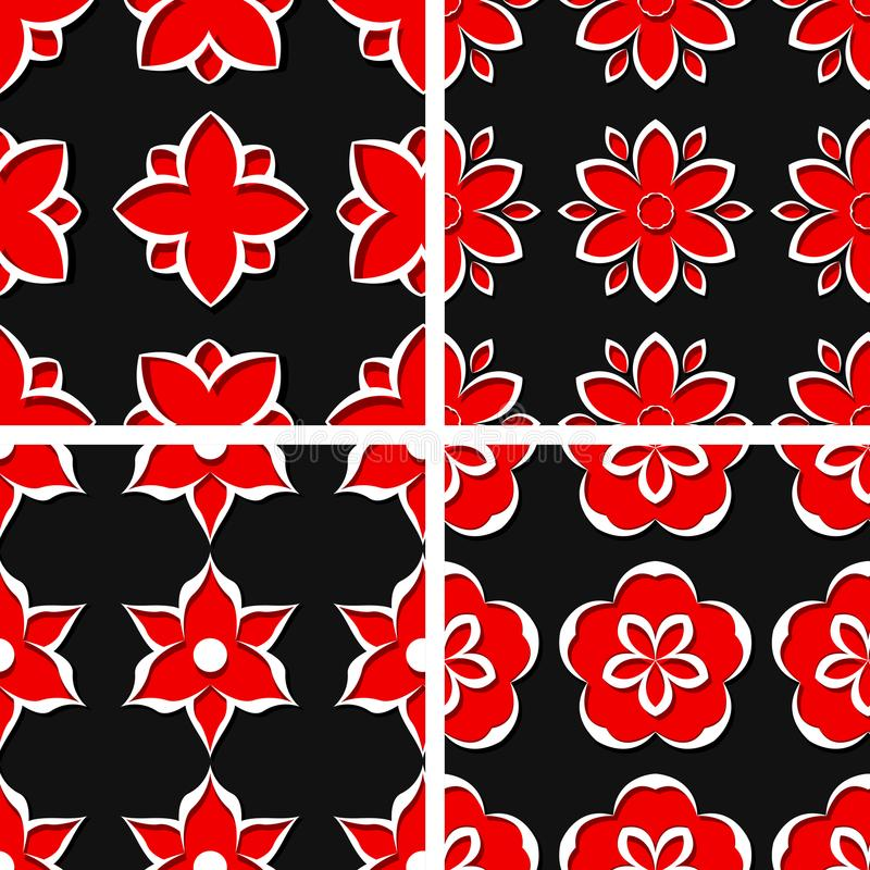 Seamless floral patterns. Set of black 3d backgrounds with red elements stock illustration