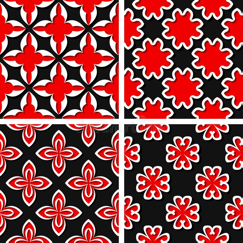 Seamless floral patterns. Set of black 3d backgrounds with red elements vector illustration