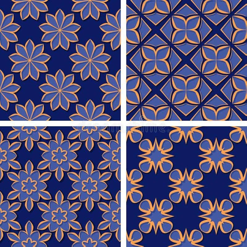 Seamless floral patterns. Set of deep blue 3d backgrounds with orange elements stock illustration