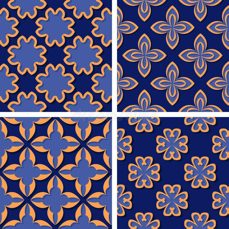Seamless floral patterns. Set of deep blue 3d backgrounds with orange elements stock illustration