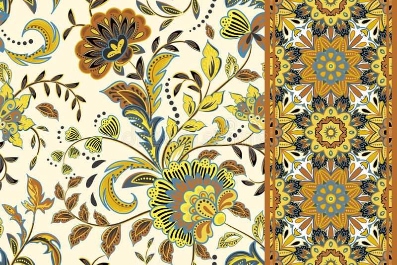 Seamless floral patterns set. Vintage flowers backgrounds and borders with leave. Vector ornaments. royalty free illustration