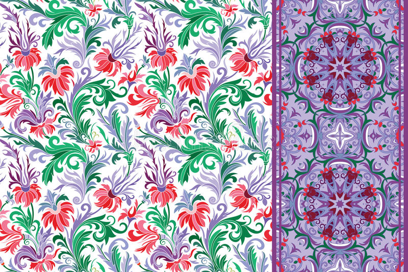 Seamless floral patterns set. Vintage flowers backgrounds and borders Vector royalty free illustration