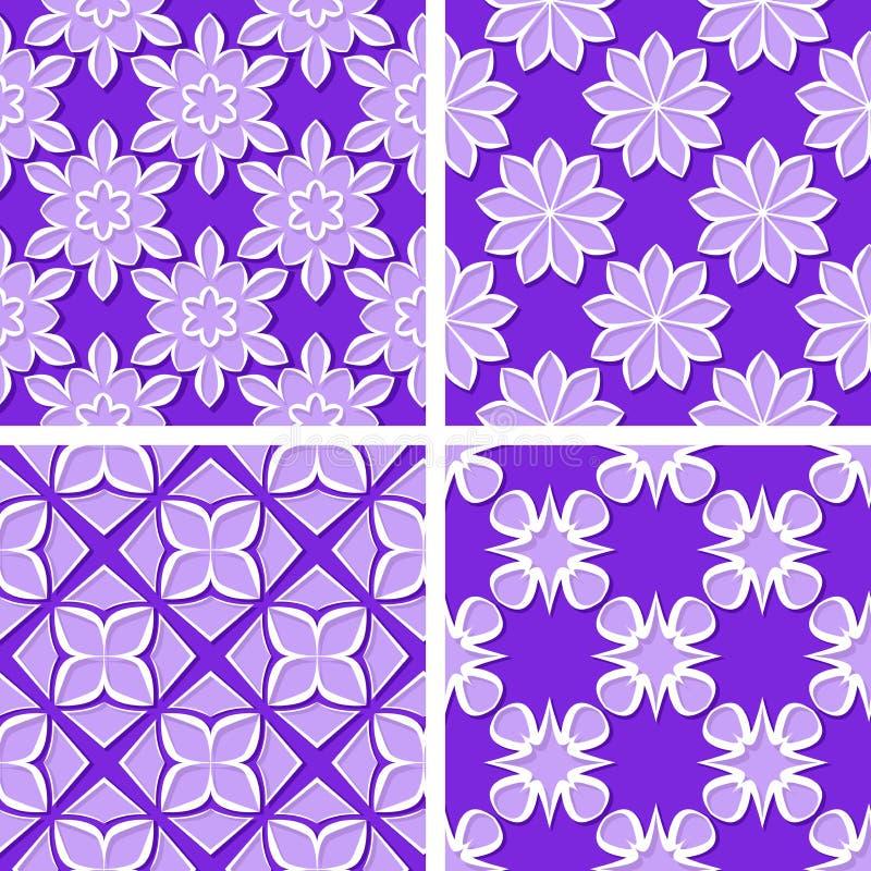Seamless floral patterns. Set of violet 3d backgrounds. Vector illustration stock illustration