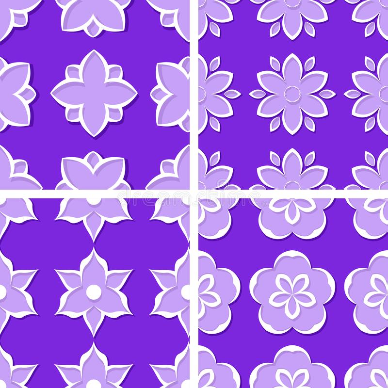 Seamless floral patterns. Set of violet 3d backgrounds. Vector illustration royalty free illustration