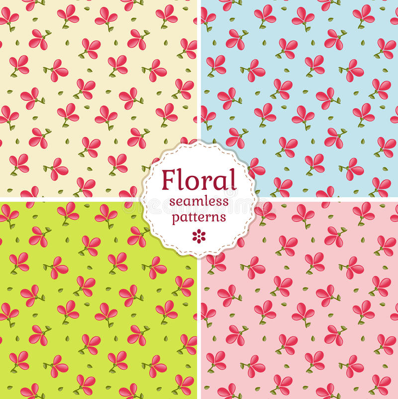 Seamless floral patterns. Vector illustration. stock illustration