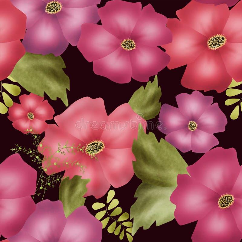 Seamless floral petunia pattern texture on black background stock illustration