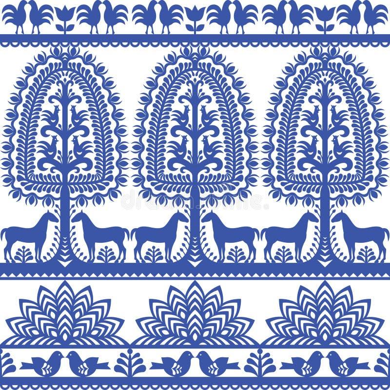 Seamless floral Polish folk art pattern Wycinanki Kurpiowskie - Kurpie Papercuts. Vector blue design of horse, tree and chickens - folk design from the region of royalty free illustration