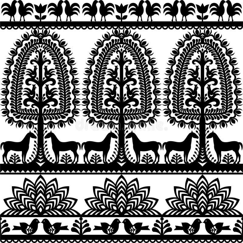 Seamless floral Polish folk art pattern Wycinanki Kurpiowskie - Kurpie Papercuts. Vector monochrome design of horse, tree and chickens - folk design from the royalty free illustration