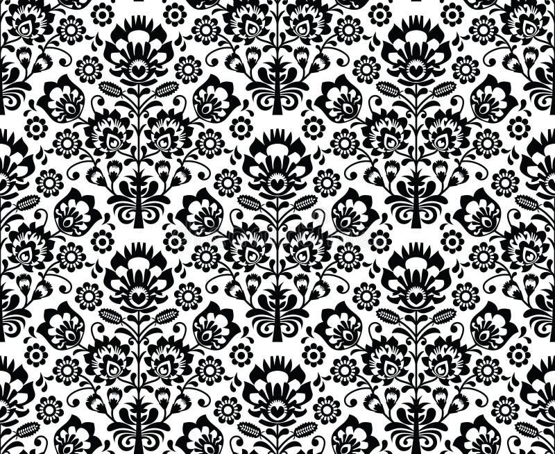 Seamless floral polish pattern - ethnic background in black and white. Repetitive monochrome background - polish folk art pattern stock illustration