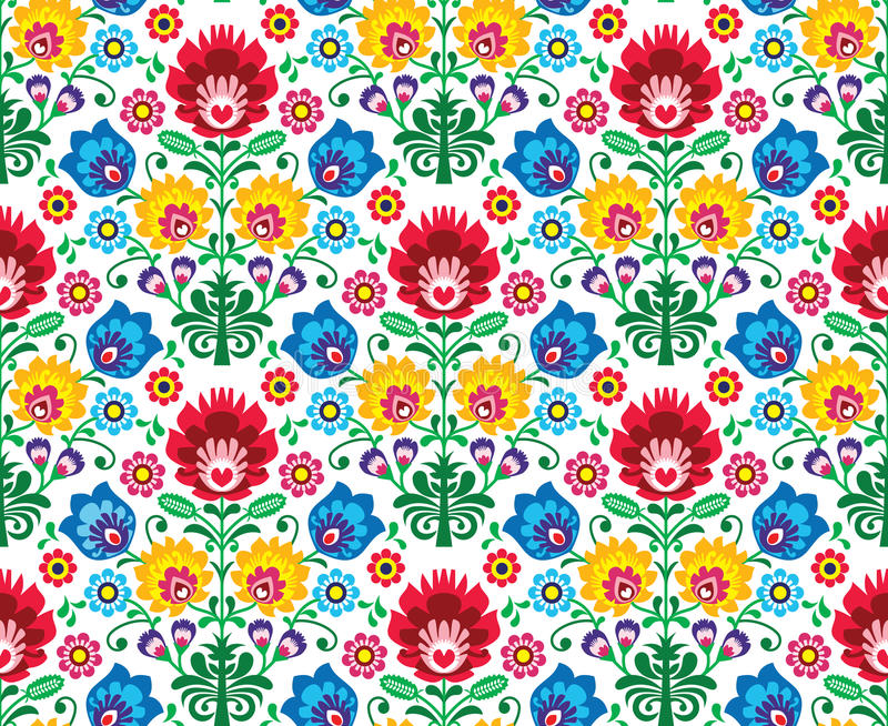 Seamless floral polish pattern - ethnic background. Repetitive background - polish folk art pattern royalty free illustration