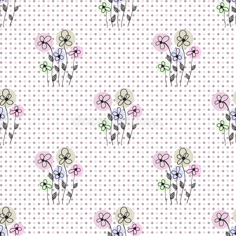 Abstract Flower Background With Decoration Elements For: Seamless Floral Polka Dot Background Stock Illustration