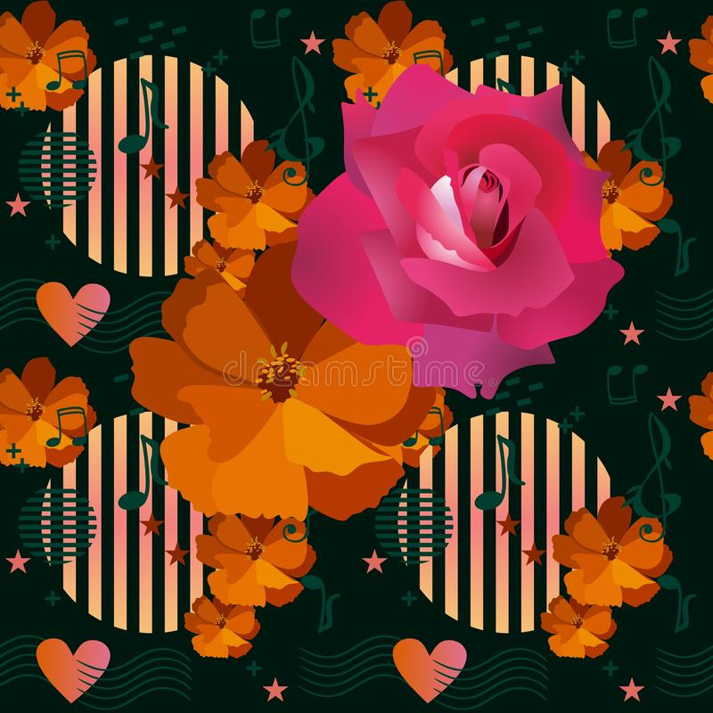 Seamless floral print for fabric with cute large crimson rose and orange cosmos flower on abstract background with musical symbols. Hearts, stars and geometric vector illustration