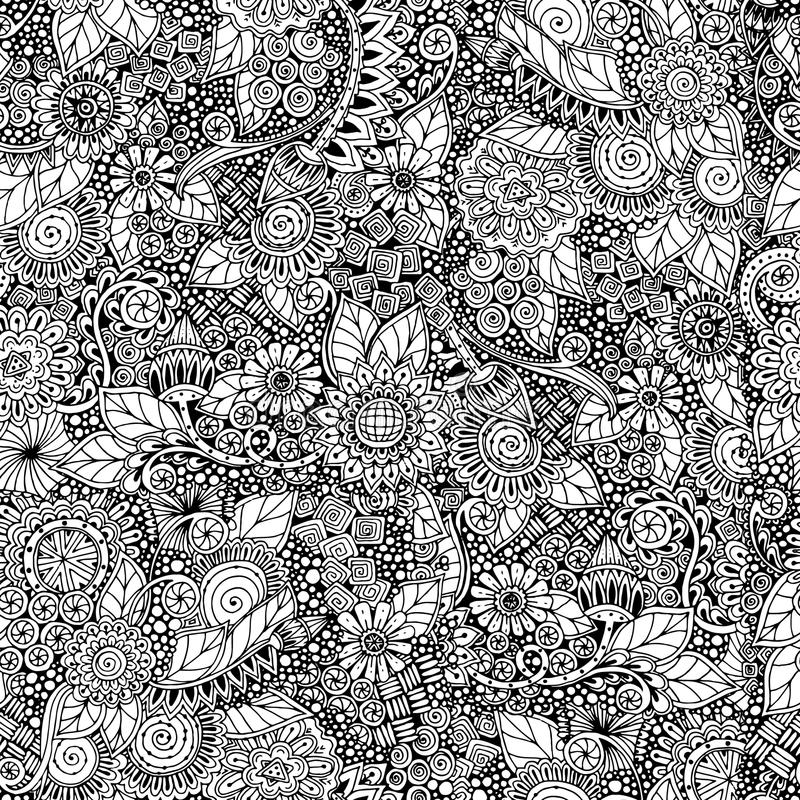 Seamless floral retro doodle black and white stock photo