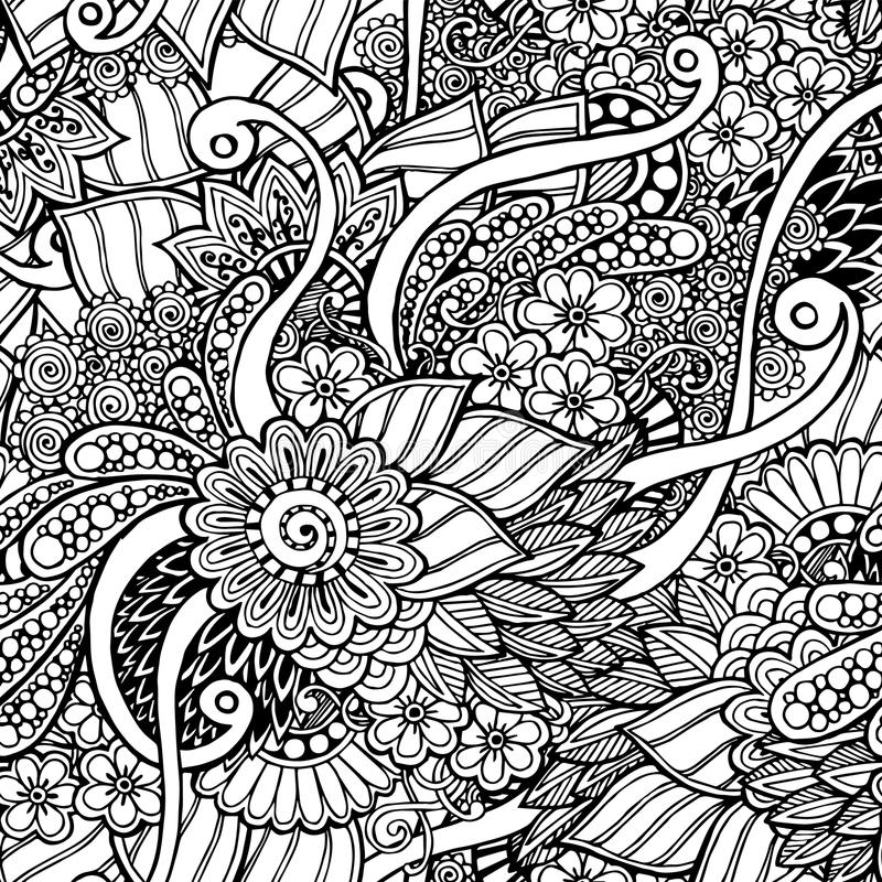 Seamless Floral Retro Doodle Black And White Stock Vector