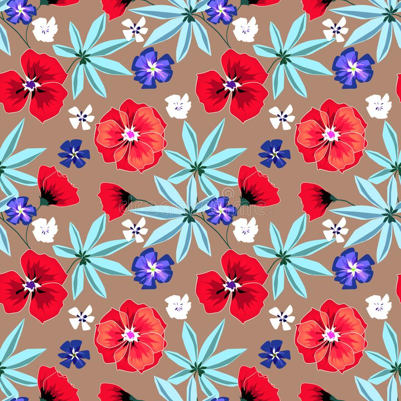 Seamless floral retro pattern.Red,blue, white flowers on light brown background. stock illustration
