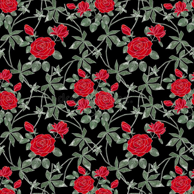 Seamless floral retro pattern. Red roses on a black background. stock illustration