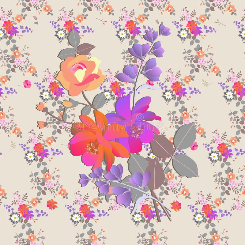 Seamless floral romantic pattern. Bouquets of roses, bell and cosmos flowers in watercolor style. Print for fabric vector illustration