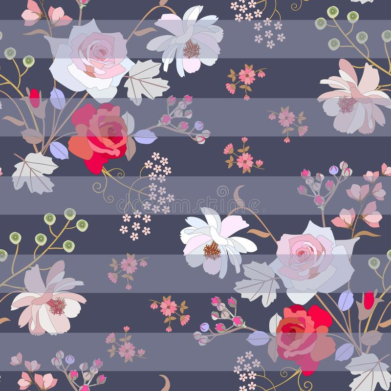 Seamless floral striped pattern with pink and red roses, gentle cosmos and umbrella flowers, bird cherry berries in vector. Fashionable print for fabric royalty free illustration