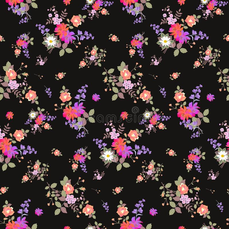 Seamless floral summer pattern with bouquets of roses, daisy, cosmos and bell flowers on black background. Print for fabric. Wallpaper, wrapping design. Fabric vector illustration