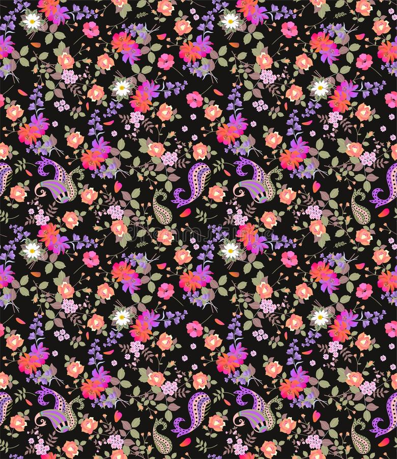 Seamless floral summer pattern with paisley, bouquets of roses, daisy, cosmos and bell flowers on black background. vector illustration