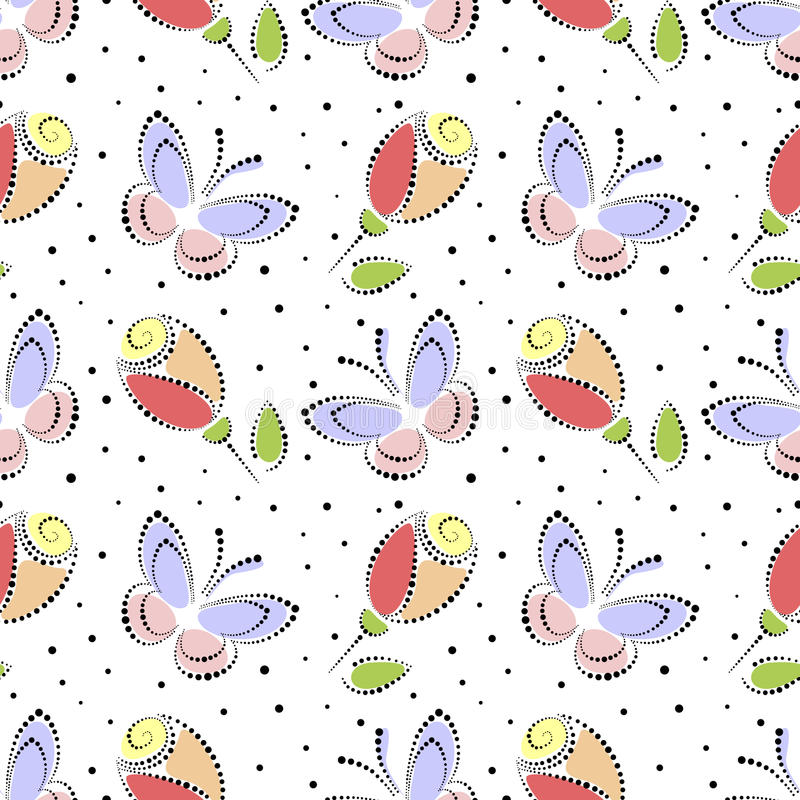 Seamless floral vector pattern. Colorful ornamental background with butterflies and roses. Decorative repeating ornament, stock illustration