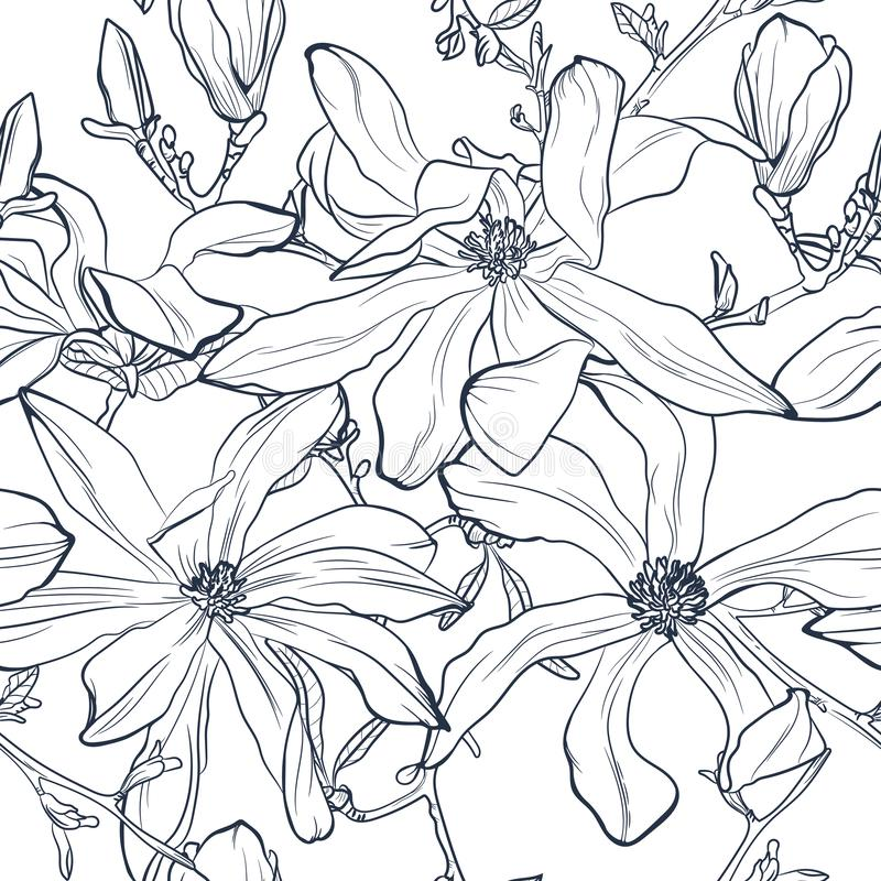 Seamless floral vector pattern with magnolia blossom. Vintage stylized. royalty free illustration