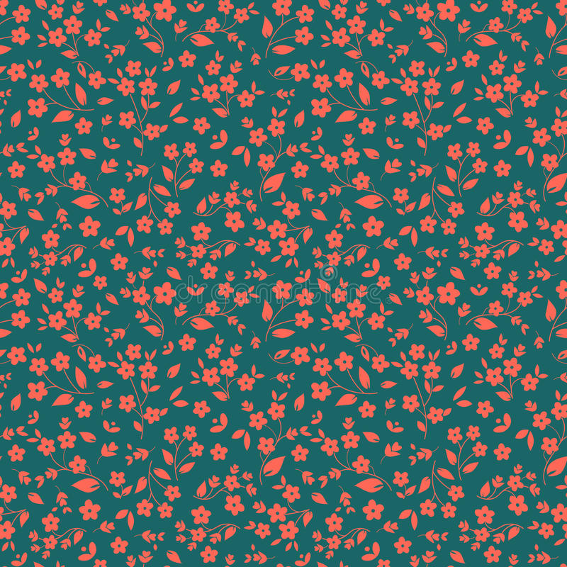 Seamless floral vector pattern orange pinkish small flowers on dark green background, ditzy, millefleurs, fabric stock illustration
