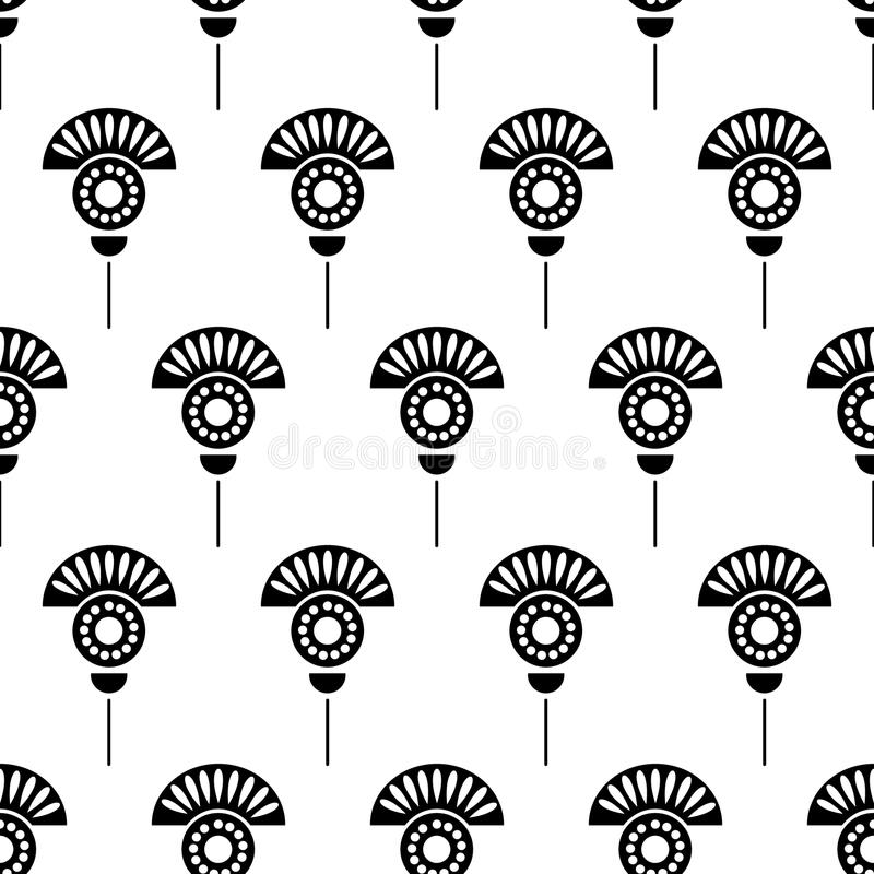 Seamless floral vector pattern. Symmetrcial black and white ornamental background with flowers. stock illustration