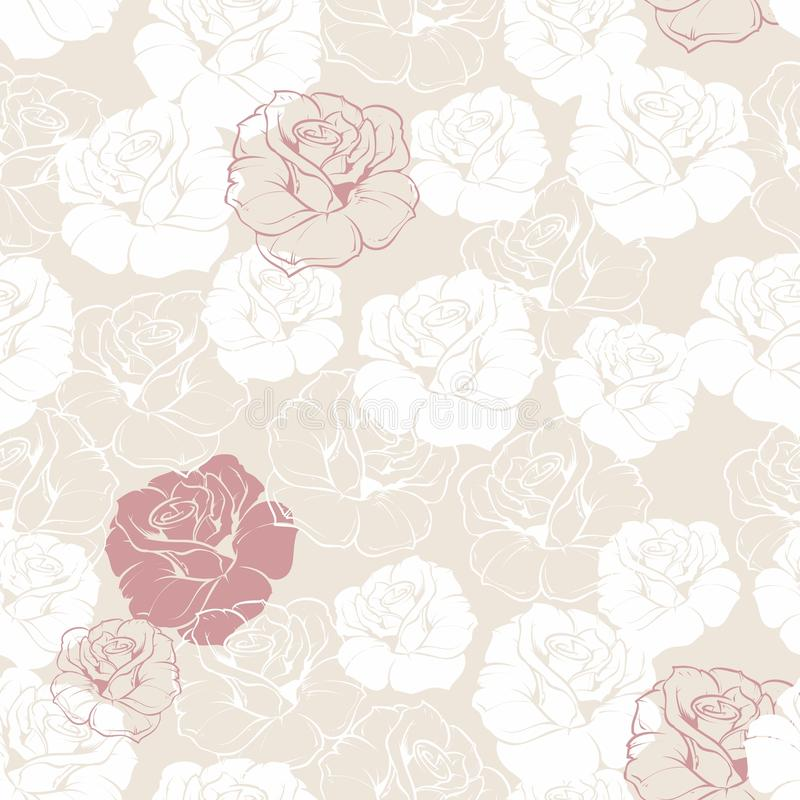 Seamless floral vector pattern white and red roses royalty free illustration