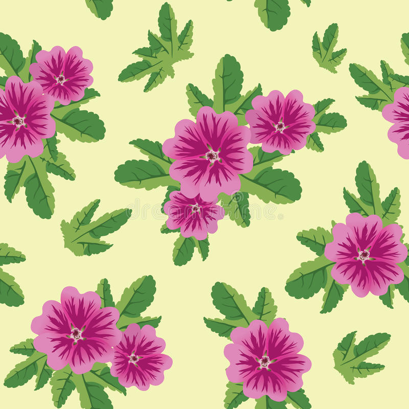 Seamless floral vector texture with malva flowers royalty free illustration