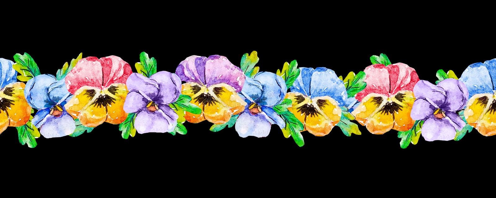 Seamless floral vertical stripe border band with yellow, pink, blue, purple pansies viola flowers in line or row on black vector illustration